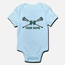 Personalized Crossed Lacrosse Sticks Green Infant