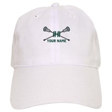 Personalized Crossed Lacrosse Sticks Green Baseball Cap