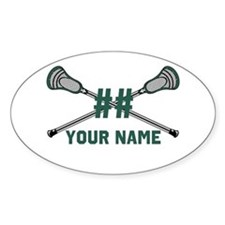 Personalized Crossed Lacrosse Sticks Green Decal