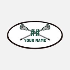 Personalized Crossed Lacrosse Sticks Green Patches