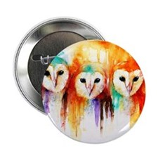"Row of Owls ~ 2.25"" Button"
