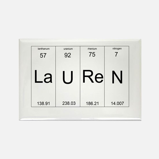 Lauren periodic table of elements Rectangle Magnet