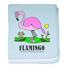 Cute Flamingo cartoon baby blanket