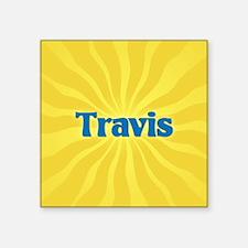 "Travis Sunburst Square Sticker 3"" x 3"""