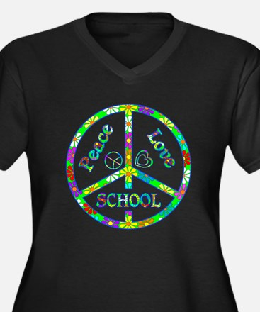 Peace Love School Women's Plus Size V-Neck Dark T-