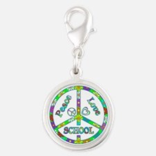 Peace Love School Silver Round Charm