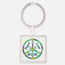 Peace Love School Square Keychain