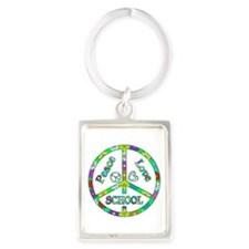 Peace Love School Portrait Keychain