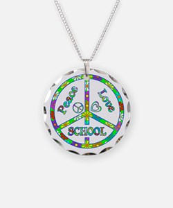 Peace Love School Necklace Circle Charm