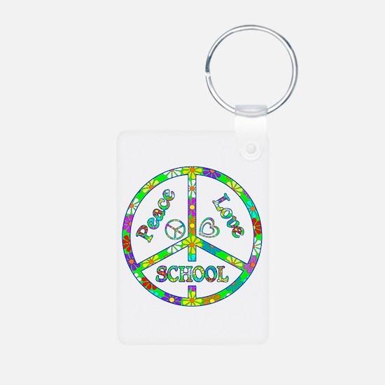 Peace Love School Aluminum Photo Keychain
