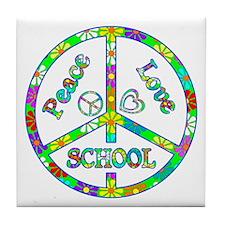 Peace Love School Tile Coaster