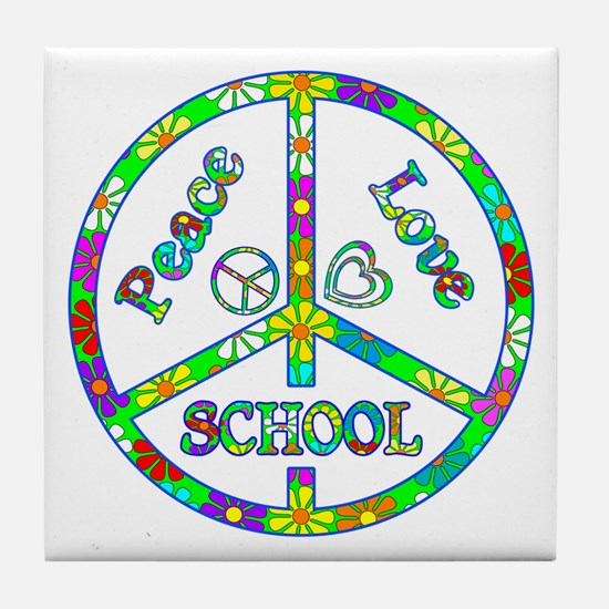 Peace Love School Tile Coaster