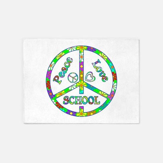 Peace Love School 5'x7'Area Rug