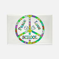 Peace Love School Rectangle Magnet