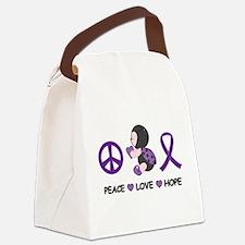 Ladybug Peace Love Hope Canvas Lunch Bag