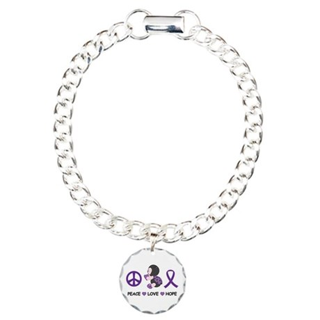 Ladybug Peace Love Hope Charm Bracelet, One Charm