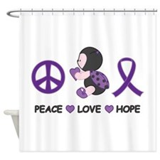 Ladybug Peace Love Hope Shower Curtain
