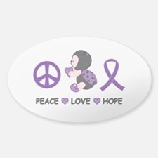 Ladybug Peace Love Hope Sticker (Oval)