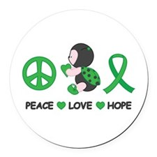 Ladybug Peace Love Hope Round Car Magnet