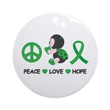 Ladybug Peace Love Hope Ornament (Round)