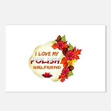 Polish Girlfriend Valentine design Postcards (Pack