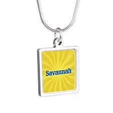 Savannah Sunburst Silver Square Necklace