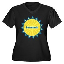 Savannah Sunburst Women's Plus Size V-Neck Dark T-
