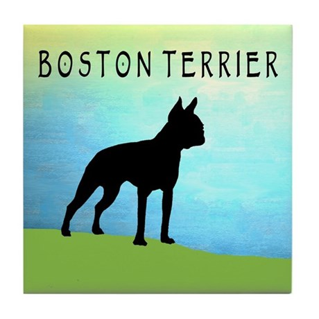 boston terrier bright sky Tile Coaster