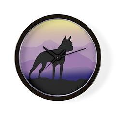 boston terrier dog purple mts. Wall Clock