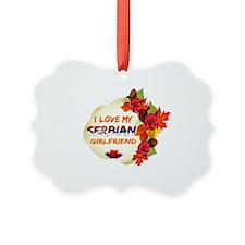 Serbian Girlfriend Valentine design Ornament