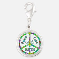 Peace Love Math Silver Round Charm