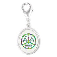Peace Love Math Silver Oval Charm