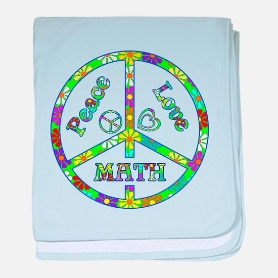 Peace Love Math baby blanket