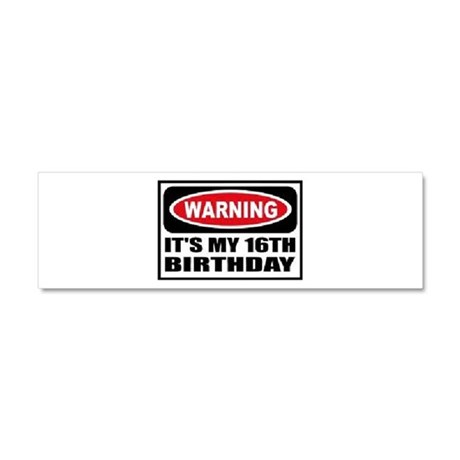 Warning its my 16th birthday Car Magnet 10 x 3