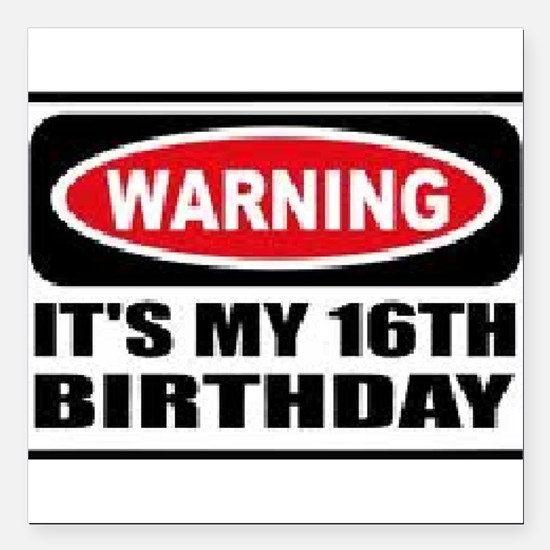 Warning its my 16th birthday Square Car Magnet 3""