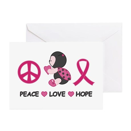 Ladybug Peace Love Hope Greeting Cards (Pk of 10)