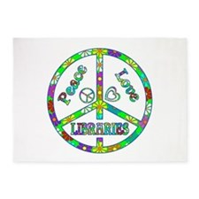 Peace Love Libraries 5'x7'Area Rug