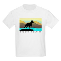 boston terrier by the sea Kids T-Shirt