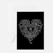 Ornate Grey Gothic Heart Greeting Card