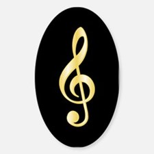 """""""Gold"""" Treble Clef Oval Decal"""