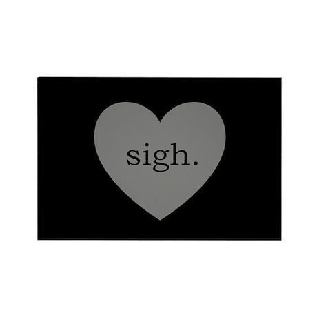 Grey Heart Sigh Rectangle Magnet