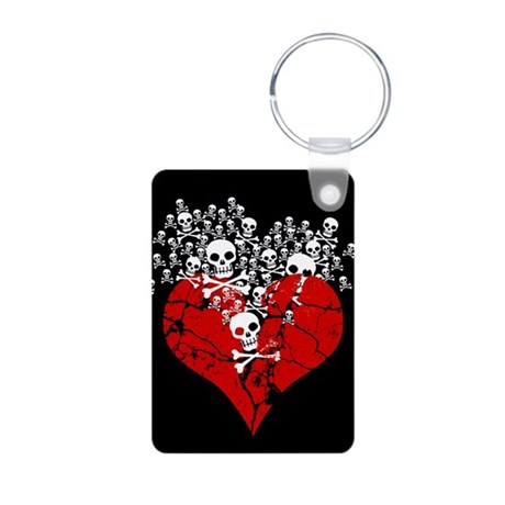 Broken Heart With Skulls Aluminum Photo Keychain