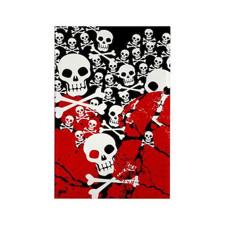 Broken Heart With Skulls Rectangle Magnet