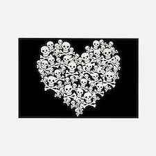 Skull Heart Rectangle Magnet