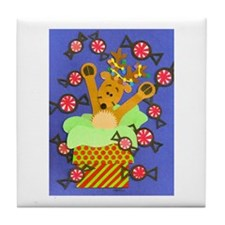 Reindeer & Peppermints Tile Coaster