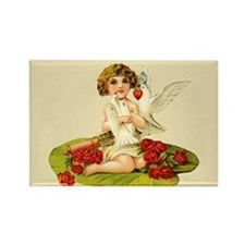 Vintage Lily Pad Cupid Rectangle Magnet