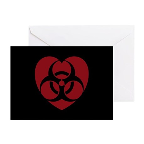 Red Biohazard Heart Greeting Cards (Pk of 10)