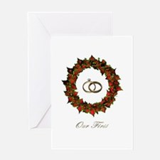 1st Christmas Married - Poinsettia, Greeting Cards