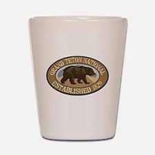 Grand Teton Brown Bear Badge Shot Glass