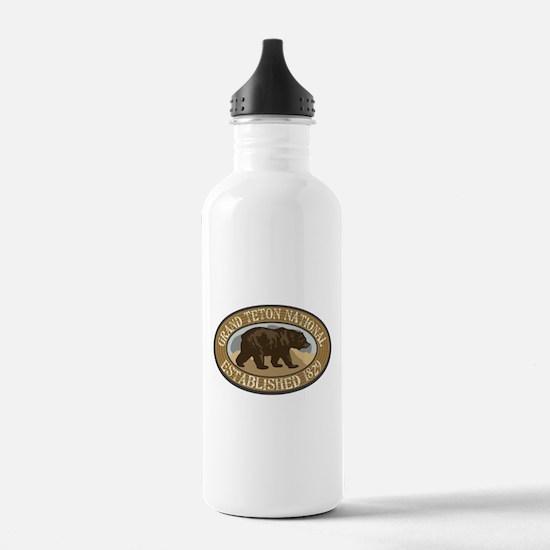 Grand Teton Brown Bear Badge Water Bottle